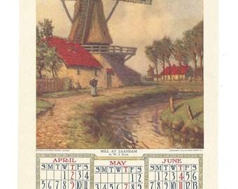 Calendar Page 1908 - Mill At Zaandam by W J Kaula - Matthews Northrup Works Buffalo  - Perry Mason Co