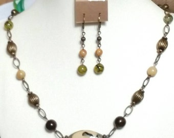 Rustic Decoupage Looking Necklace and earrings set.