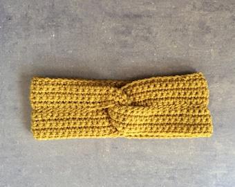 Crochet Headwrap - Women's Twisted Crochet Knot Headband - Gold mustard yellow knit ladies earwarmer
