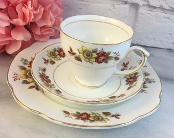 Duchess Autumn Bouquet Tea Trio Cup Saucer Plate Fine Bone China Vintage England Made Lovely Exc