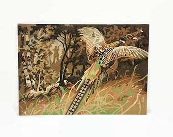 Paint by Numbers Hunting Season, Pheasant, Midcentury PBN Art, Vintage Painting