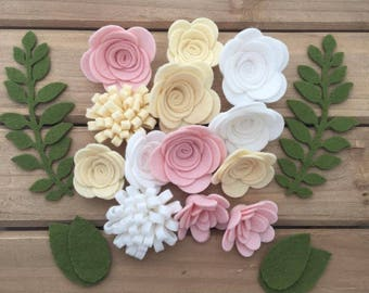Handmade Wool Felt Flowers, Pastel Colors