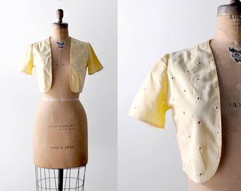 30's bolero. yellow. 1930 eyelet top. pastel. white embroidered. 30 cropped jacket. small.