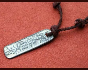 SALE Leather Surfer Necklace With Chinese Lucky Coin Pendant