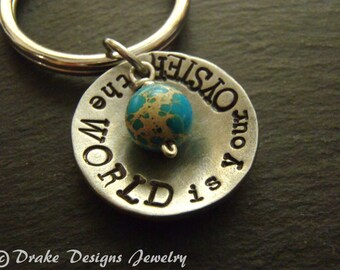 graduation gift keychain the world is your oyster inspirational keychain personalized