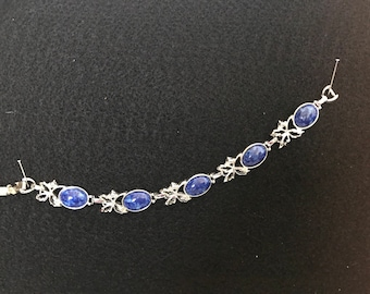 Bracelet Sarah Coventry - Silver Leaves - Faux Lapis Lazuli Cabochons 7.5 inches long