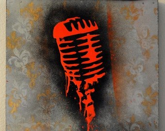 Dripping Retro Microphone Multilayer Graffiti Stencil Art Painting