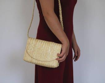 Crossbody Straw purse, Summer Bag, Beach Bag, straw bag, eco friendly handbag, natural bag.