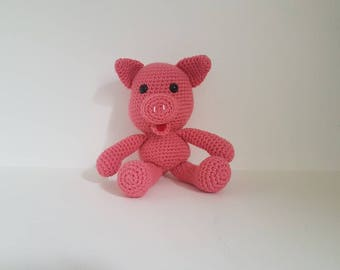 Pig Toy, Crochet Pig, Soft Toy, Toy Pig, Handmade Crochet Piglet, Amigurumi Pig, Baby shower gift - MADE TO ORDER