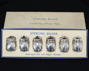 Vintage Sterling Silver Individual Salt and Pepper Shakers - Set of 6