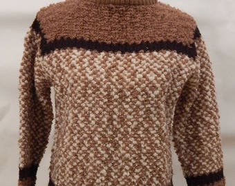 Vintage Jack Winter Women's Wool Sweater in Boucle Brown with Chocolate Stripes