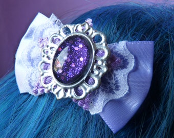 Purple Magic Moon Star Bow Hair Clip