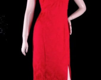 Vintage Red Brocade Sexy Long Formal Dress Size M Bust 38