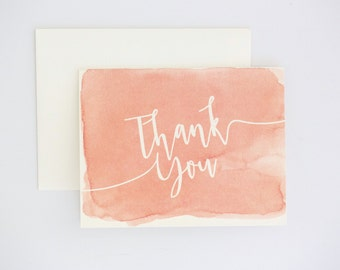 Watercolor Thank You Cards - Coral Ombre Modern Design with Unique Watercolor Pattern Wedding Card (Sarah Suite)