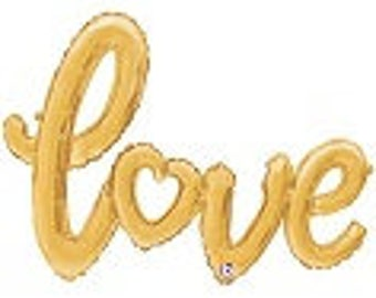 "Gold ""LOVE"" Balloon Script Banner Balloon Silver String included Wedding Bridal Engagement Anniversary Air Fill only"