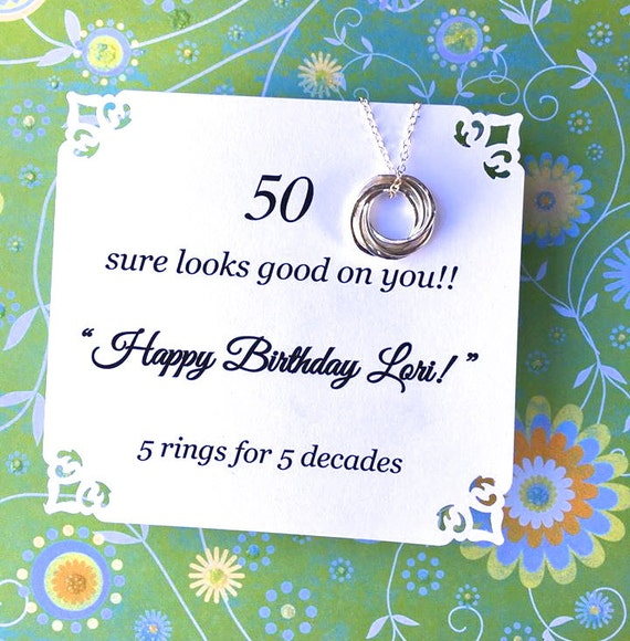 Happy 50th Birthday Poems: 50th BIRTHDAY Gift FIFTY Fiftieth Birthday Necklace With POEM