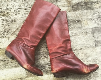 8 Leather riding boots oxblood burgundy dark brown red pointed toe pointy leather sole stacked leather heel low heel flat flats 8.5 8 1/2 9