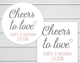 Cheers to Love Stickers, Alcohol Wedding Favor Labels, Customizable Wedding Stickers (#398)