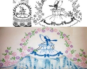 Southern Belle - Crinoline Lady pillowcase crochet embroidery pattern AB7372