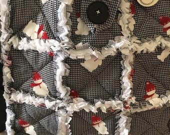 New Snowman Rag Bag and Rag Blanket/Black/White/Red/Lap Blanket/Baby Blanket/Diaper Bag/Every Day Bag/Shower Gift/BirthdayGift