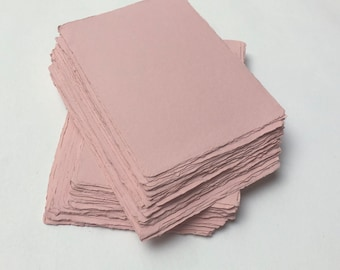 """5.7"""" x 8.2"""" (A5) Pink, 210gsm Handmade Deckle Edge Cotton Rag Paper // Deckle Edge Paper, Cotton Paper, Invitation Paper, Calligraphy Paper"""