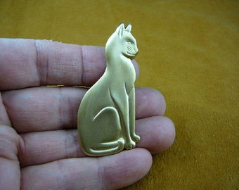 sitting Cat kitty kitten I love cats lover Victorian brass brooch pin pendant B-Cat-101