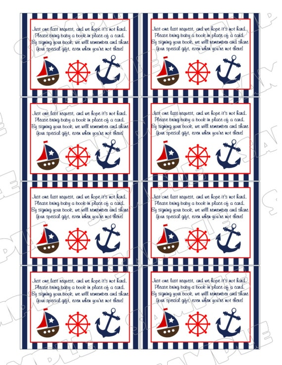 Nautical Anchor Baby Shower Games Book Request Insert Cards