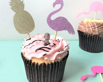 Tropical cupcake toppers for a tropical party. Party décor, birthday cake topper, flamingo cupcake, pineapple cupcake, tropical birthday