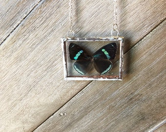 Butterfly wing necklace, handmade jewelry, insect art, entomology, butterfly, boho style, handmade art, soldered necklace, nature