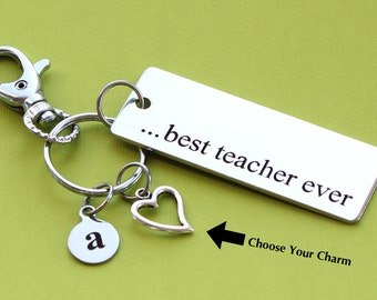 Personalized Teacher Key Chain Best Teacher Ever Stainless Steel Customized with Your Charm & Initial -K554