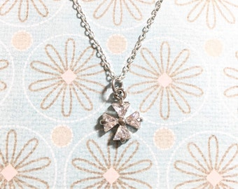 Silver Crystal Clover Necklace, Four Leaf Clover Necklace, Lucky Charm Necklace, Friendship Gift, Christmas Gift, BFF Gift, Graduation Gift