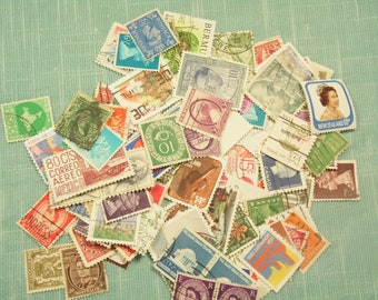 100 Postage Stamps - Used Stamps - Craft Paper