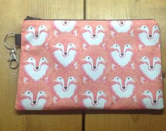 "Coral Fox Zipper Pouch ~ 8"" x 5.5"" Fabric Zipper Case ~ Foxes in Coral Fabric Zipper Pouch ~ Makeup Pouch ~ Pencil Pouch ~ Ready to Ship"