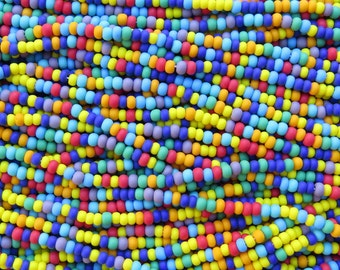 6/0 Matte Opaque Color Mixed Czech Glass Seed Bead Strand (CW175)