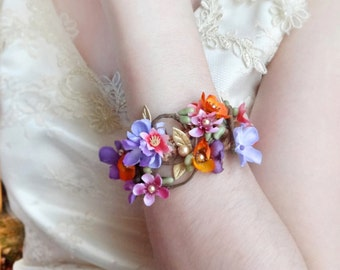 floral bracelet cuff, luxe wrist corsage bracelet, bridal cuff bracelet, colorful wedding, bridesmaid wrist corsage, colorful bracelet