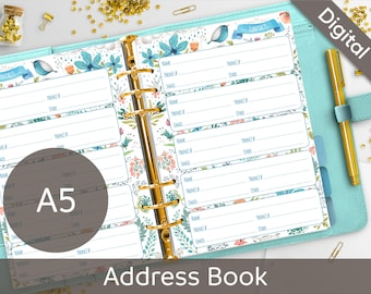 A5 Address Book Printable, Contacts, Filofax A5 printable refills, Contact Sheets, Arinne Blue Bird DIY Planner PDF Instant Download