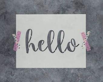 "Hello Stencil - Reusable DIY Craft Sign Stencils of the Word ""Hello"" - Great for Walls and Home Decor"