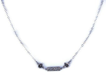 Floral bar necklace gift for her women petite jewelry simple girlfriend layer everyday