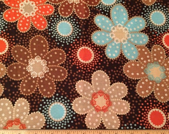 mod flower new stock fabric remnant//browns, orange, and aqua