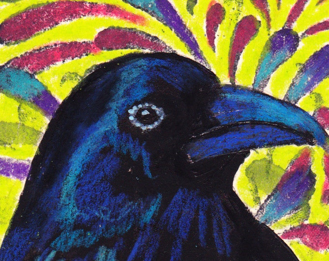 Colorful Crow blank greeting card