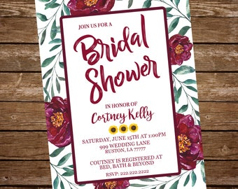 Bridal Shower maroon invitation,  maroon flower bridal shower, bridal shower invitation, watercolor flower bridal shower invitation