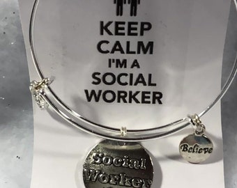 Social Worker Theme Wired Bangle Charm Bracelets Free Shipping