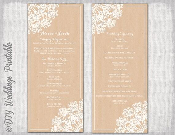 Printable Wedding program template Rustic wedding program template DIY  \