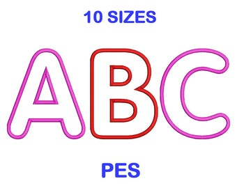 Applique Embroidery Font Set - 10 Size - PES Format Embroidery Alphabet - Embroidery Letters - Brother Machine Embroidery Designs Patterns