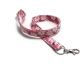 Handmade Fabric Lanyard, ID Badge Holder - Small White Daisy on Pink - Breakaway or w/o Breakaway