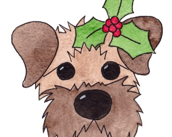 Border Terrier Red Grizzle Holly Christmas Card