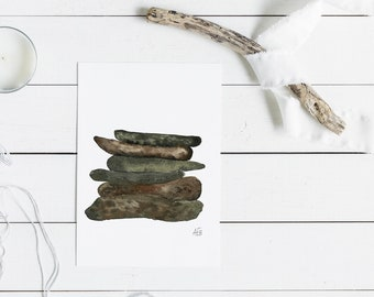 Watercolor Print, Stacked Stones, #2, Grounded Series, Rock Art, Earthy, Brown, Green, Gray, Nature Art, Home Decor, Watercolor Painting