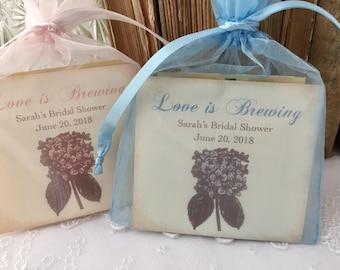 Tea Bag Favors Fully Assembled Wedding Bridal Shower Hydrangeas Set of 10