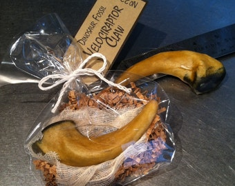 Jurassic Dinosaur Party Cookies Life Size Velociraptor Raptor Claw Party Favors Almond Shortbread w/Caramel Glaze, Quantity: 12 cookies