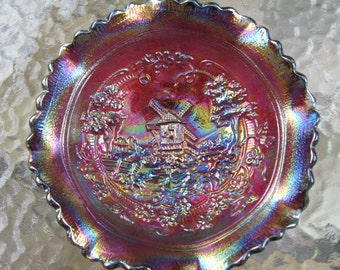 Vintage Carnival Glass Ruffled Windmill Bowl